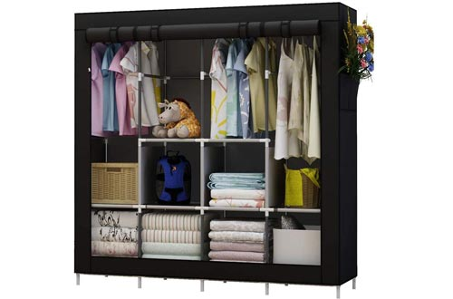 UDEAR Portable Closets Large Wardrobe Closets Clothes Organizer with 6 Storage Shelves, 4 Hanging Sections 4 Side Pockets,Black
