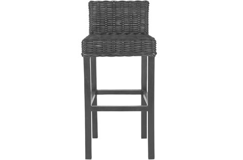 Safavieh Home Collection Cypress Black Wicker 30-inch Bar Stools