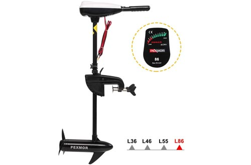 "PEXMOR 86LBS Thrust 24V Saltwater Transom Mounted Electric Trolling Motors w/LED Battery Indicator 8 Variable Speed for Inflatable Boats, Jon Boat, Pontoon Fishing Boat (36"" Shaft)"