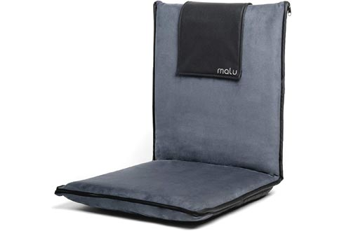 malu Luxury Padded Floor Chairs with Back Support - Meditation Cushion w/Adjustable Fully Folding Backrest and Removable Gray Washable Cover - Portable - Easy Wash Nylon Bottom - Vegan Leather Accents