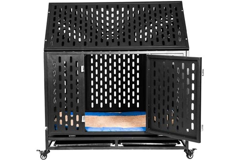Haige Pet Your Pet Nanny Heavy Duty Dog Crates Cage Kennel Playpen Large Strong Metal for Large Dogs Cats with Two Prevent Escape Lock and Four Lockable Wheels