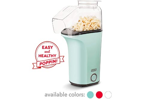 DASH DAPP150V2AQ04 Hot Air Popcorn Poppers Maker with Measuring Cup to Portion Popping Corn Kernels + Melt Butter, 16, Aqua