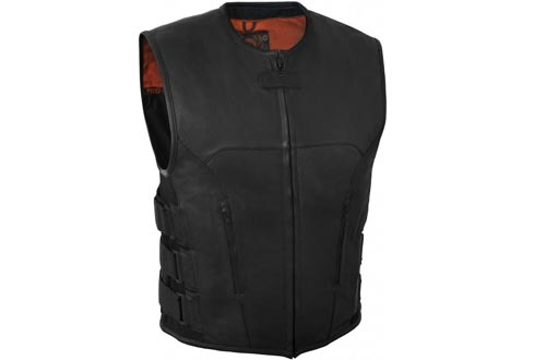 True Element Mens Swat Team Style Leather Motorcycle Vests with Side Size Adjustment (Black, XXX-Large)