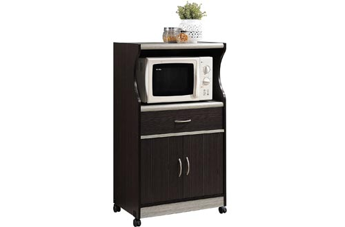 Hodedah Microwave Carts with One Drawer, Two Doors, and Shelf for Storage, Chocolate