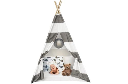 Sorbus Kids Foldable Teepee Play Tents Playhouse Classic Indian Style Play Tents and Carry Bag, Walls with Door, Window and Floor (White and Gray)