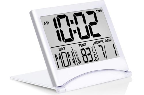 Betus Digital Travel Alarm Clocks - Foldable Calendar & Temperature & Timer LCD Clocks with Snooze Mode - Large Number Display, Battery Operated - Compact Desk Clocks for All Ages (Silver)