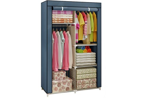 Yomeliy Closets Wardrobe, Clothes Storage Organizer with Hanging Rod & Cube Storages, DIY Closets Organizers for Living Room Bedroom (Gray)