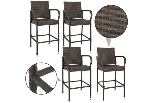 SUPER DEAL Wicker Bar Stools Outdoor Backyard Rattan Chair Patio Furniture Chair w/Iron Frame, Armrest and Footrest, Set of 4