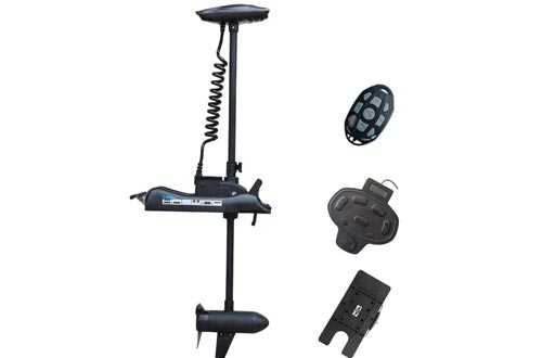 Haswing Black Cayman 12V 55lbs 48 inch Bow Mount Electric Trolling Motors Lightweight, Variable Speed, with Foot Control/Quick Release Bracket for Bass Fishing Boats Freshwater/Saltwater