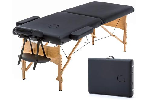 Massage Tables Portable Massage Bed Spa Bed 73 Inches Long 28 Inchs Wide Hight Adjustable Massage Tables 2 Folding Massage Bed Spa Bed Facial Cradle Salon Bed W/Carry Case