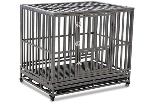 LUCKUP Heavy Duty Dog Crates Strong Metal Kennel and Crates for Large Dogs,Easy to Assemble with Four Wheels