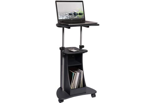 Techni Mobili Sit-to-Stand Rolling Adjustable Height Laptop Carts with Storage, Graphite