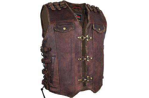 MDM Brown Mens Motorcycle Biker Leather Vests