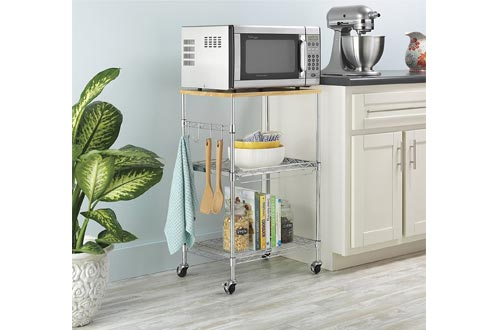 Whitmor Supreme Microwave Carts with Locking Wheels - Chrome with Food Safe Cutting Board