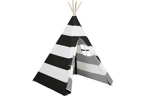 Best Choice Products 6ft Kids Stripe Canvas Teepee Playhouse Sleeping Dome Play Tents w/ Carrying Bag - White/Black
