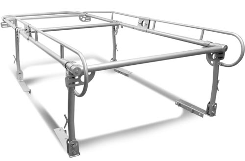 Universal Adjustable 132 inches X 57 inches Steel Pickup Truck Ladder Racks (Silver)