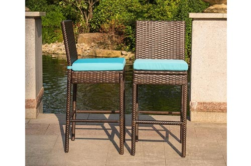 Sundale Outdoor 2 Pcs All Weather Patio Furniture Brown Wicker Barstools with Cushions, Blue