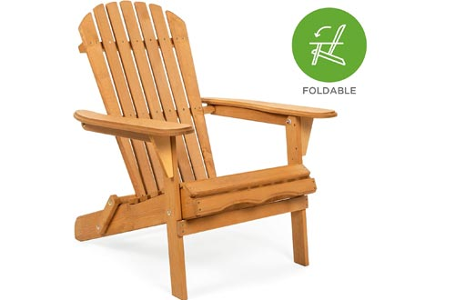 Best Choice Products Folding Wooden Adirondack Lounger Chairs Accent Furniture w/Natural Finish, Brown