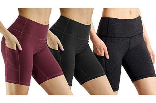 High Waist Out Pocket Yoga Shorts Tummy Control Workout Running Athletic Non See-Through Active Shorts