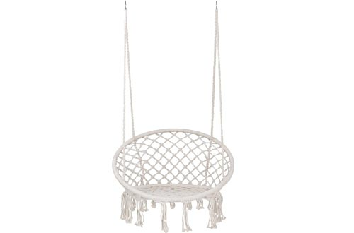 SUPER DEAL New Hammock Chairs Macrame Swing - Bohemian Style Cotton Rope Mesh Swing Hanging Chairs for Indoor&Outdoor - Perfect Decor and Relaxation Choice for Home, Garden, Patio, Yard