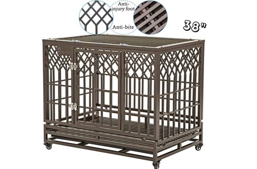 SMONTER Heavy Duty Dog Crates Strong Metal Pet Kennel Playpen with Two Prevent Escape Lock, Large Dogs Cage with Wheels, Y Shape, Dark Silver … …