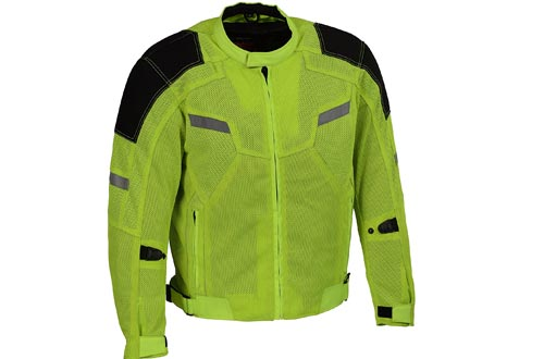 Milwaukee Performance Men's Mesh Racing Jackets with Armor (BLACK/NEON GREEN, Large)
