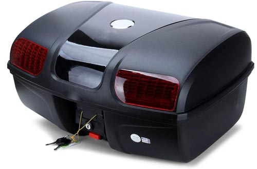AUTOINBOX Universal Motorcycle Rear Top Box Tail Trunks Luggage Storage Case,47 Litre Hard Case with Mounting Hardware,with LED Light,Black