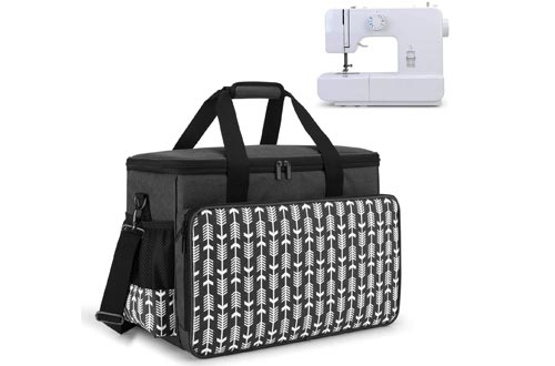 Yarwo Sewing Machine Carrying Cases with Bottom Wooden Board, Universal Sewing Machine Tote Compatible with Most Standard Sewing Machine and Accessories, Black with Arrow