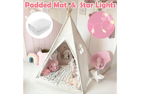 Kids Teepee Tents with Padded Mat & Light String& Carry Case- Kids Foldable Play Tents for Indoor Outdoor, Raw White Canvas Teepee - Kids Playhouse - Portable Kids Tents
