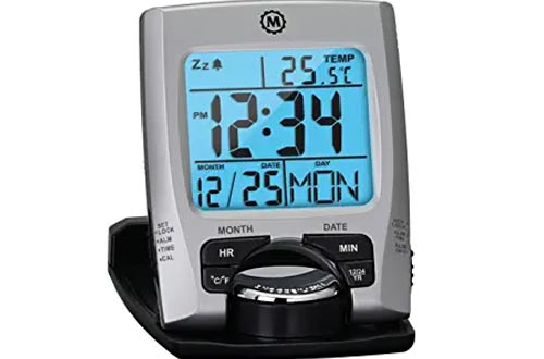 Marathon Travel Alarm Clocks with Calendar & Temperature - Phone Stand Function - Battery Included - CL030023 (Silver)