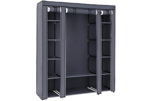 SONGMICS 59 Inch Closets Organizer Wardrobe Closets Portable Closets shelves, Closets Storage Organizer with Non-woven Fabric, Quick and Easy to Assemble, Extra Strong and Durable, Gray ULSF03G