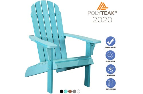 PolyTEAK Traditional Element Faux Wood Poly Adirondack Chairs, Blue | Adult-Size, Weather Resistant, Made from Special Formulated Poly Lumber Plastic…