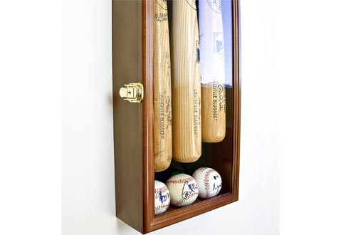 3 Baseball Bat Display Cases Cabinet Holder Wall Rack w/UV Protection - Lockable -Walnut