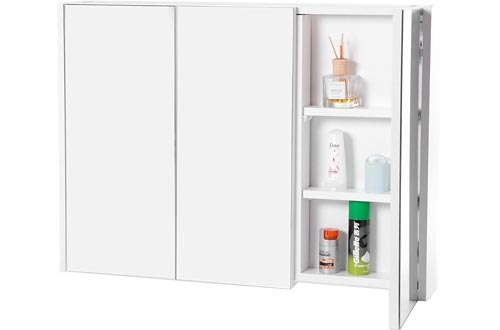 Basicwise QI003456 3 Shelves White Wall Mounted Bathroom/Powder Room Mirrored Door Vanity Cabinets Medicine Chest