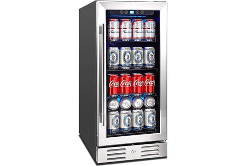"""Kalamera 15"""" Beverage Coolers 96 can Built-in or Freestanding Touch Control Beverage Fridge with Blue Interior Light"""