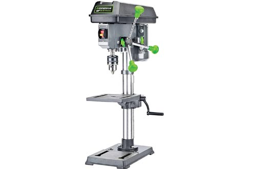 "Genesis GDP1005A 10"" 5-Speed 4.1 Amp Drill Presses with 5/8"" Chuck, Integrated LED Work Light, and Table that Rotates 360° and Tilts 0-45°"