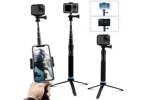 AFAITH Upgraded Pole for GoPro, Aluminum Alloy GoPro Selfie Sticks with Stable Tripod Waterproof Handheld Monopod for GoPro Hero 8 Black/7/6/5/4/ Osmo Action Camera/Xiao Yi Action Camera