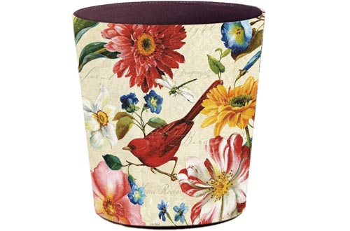 Lingxuinfo Retro Style Small Trash Can Wastebasket, Decorative Trash Can Waste Paper Baskets Waste Container Bin for Bathroom, Bedroom, Office and More, 10L Capacity (Red Bird)