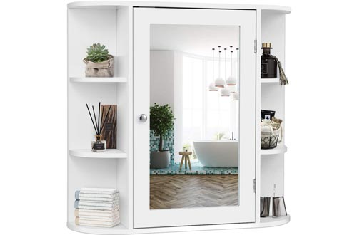 Tangkula Single Door Wall Mount Bathroom Cabinets with Mirror - 4 Tier Inner Shelves