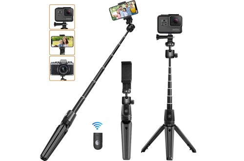 Phone Tripod, KKUYI Selfie Sticks Tripod for iPhone with Remote, 3 in 1 iPhone Tripod Stand Mount Holder Bluetooth for iPhone 11 Pro Max XS Max XS XR X 8 7 6, Gopro, Cell Phone, Android, Camera