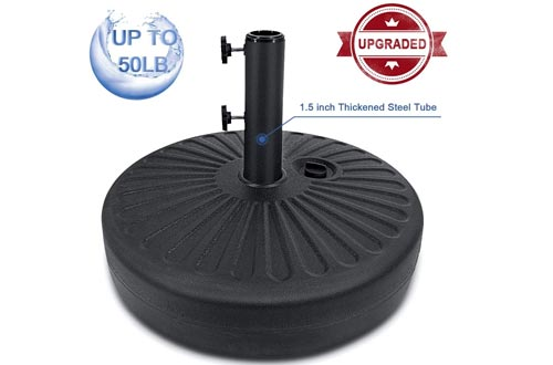 FRUITEAM Umbrella Bases Heavy Duty Stand Pole Holder 50LB Outdoor Patio Umbrella Bases 1.5inch Thickened Steel Pole Round Bases Water Filled for Outdoor, Garden, Lawn