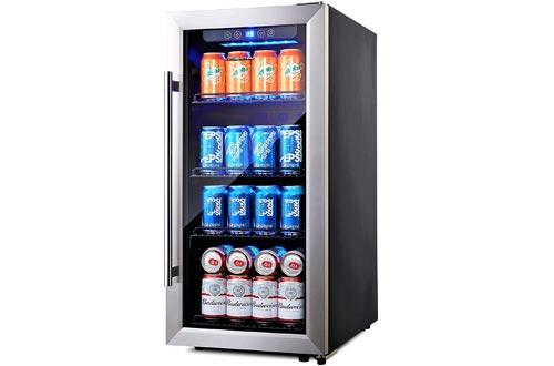 Phiestina PH-CBR100SP 100 Can Compressor Beverage Coolers Air-Cooled Refrigerator Stainless Steel & Glass Door with Handle