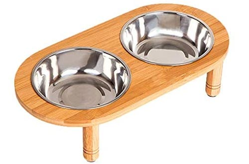 Lepet Raised Dog Bowls Cat Food Stands with 2 Stainless Steel Bowls, Elevated Small Dog Bowls with Bamboo Stands