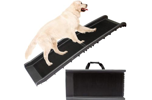 Downtown Pet Supply Dog Foldable Pet Stairs or Ramps for Small and Large Dogs Fits Most Trucks and SUVs (Grass Turf Ramps, Rubber Grip Ramps, Foldable Stairs)