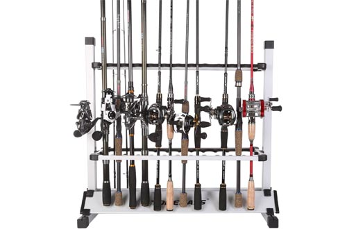 One Bass Fishing Rod Racks Metal Aluminum Alloy Fishing Rod Organizer Portable Fishing Rod Holder for All Type Fishing Pole, Hold Up to 12 or 24 Rods