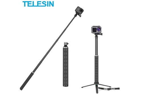 TELESIN Ultralight Carbon Fiber Selfie Sticks with Tripod Stand/Extendable Monopod,Compatible for GoPro Hero/DJI OSMO Action/Insta360/AKASO and Other Action Cameras