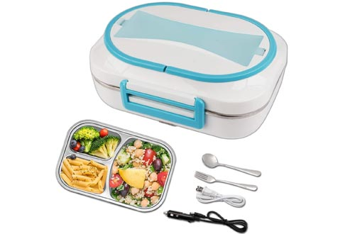 Electric Heated Lunch Boxes - 110V & 12V Portable Food Warmer for Home and Car with Removable 304 Stainless Steel Storage Container
