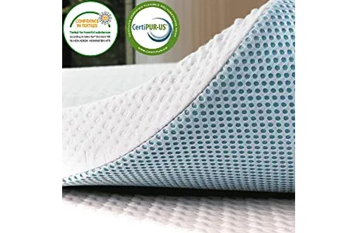 subrtex 3 inches Gel-Infused Memory Foam Bed Mattress Toppers High Density Cooling Pad Removable Fitted Bamboo Cover Ventilated Design (Twin)