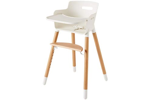 Wooden High Chairs for Babies and Toddlers - with Harness, Removable Tray, and Adjustable Legs