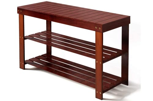 Haton Bamboo Shoe Bench, 3-Tier Shoe Racks, Shoe Storage Organizer with Seat, Ideal for Living Room, Bedroom and Hallway, Easy Assembly
